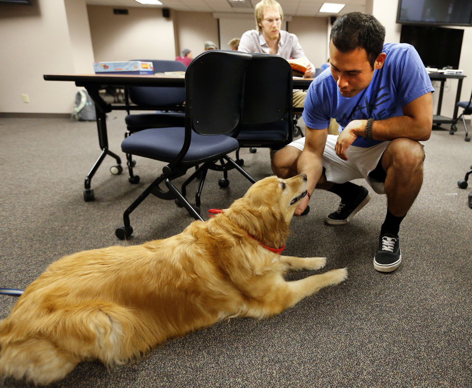 Photo - University of Oklahoma junior Mario Penate pets Sunny, a therapy dog with A New Leash on Life during finals week on campus. PHOTO BY STEVE SISNEY, THE OKLAHOMAN  STEVE SISNEY