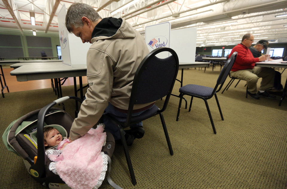 Photo -   Tim Grotto plays with his 3-month-old daughter Mary as he votes at the Peosta Community Center in Peosta, Iowa on Tuesday Nov. 6, 2012. (AP Photo/The Telegraph Herald, Dave Kettering)