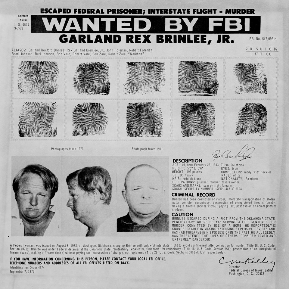 The FBI released a wanted poster for Rex Brinlee Jr. in 1973. Brinless was convicted of murder in connection with the bombing death of a Bristow kindergarten teacher. While serving his time at the Oklahoma State Penitentiary, he escaped twice. Copy of a print from The Oklahoman Archive, Tuesday, Dec. 6, 2011.