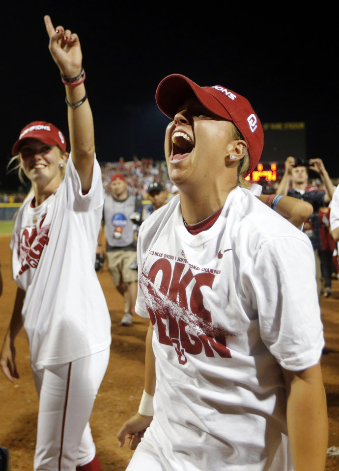 Oklahoma celebrates their win following the  Women's College World Series softball game between Oklahoma and Tennessee at ASA Hall of Fame Stadium in Oklahoma City,Tuesday, June, 4, 2013. Photo by Sarah Phipps, The Oklahoman
