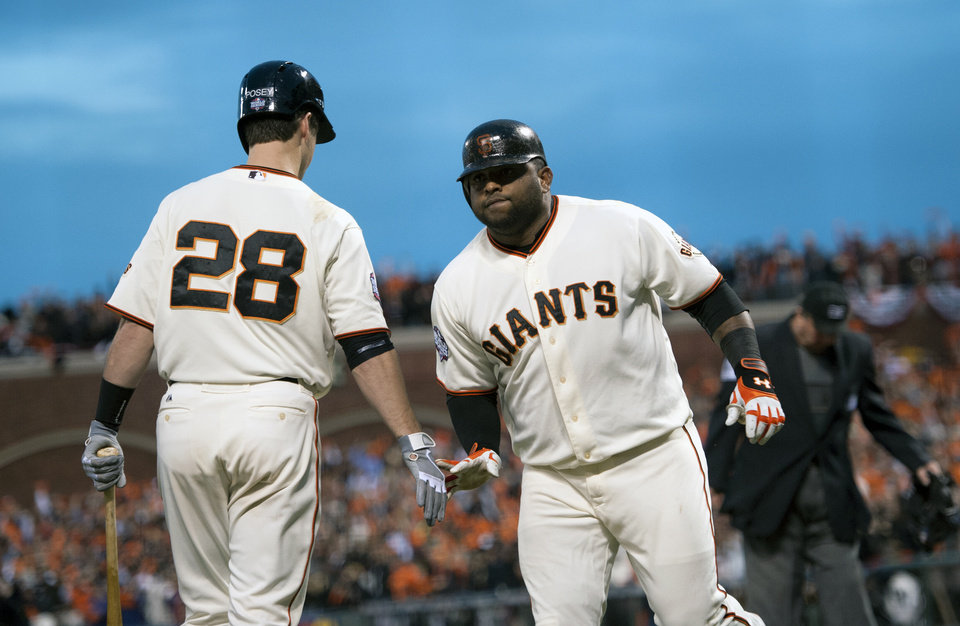 Photo -   San Francisco Giants' Pablo Sandoval (48) is greeted by Buster Posey (28) after Sandoval's second home run against the Detroit Tigers during Game 1 of baseball's World Series, Wednesday, Oct. 24, 2012, in San Francisco. (AP Photo/The Sacramento Bee, Paul Kitagaki Jr.) MAGS OUT; TV OUT (KCRA3, KXTV10, KOVR13, KUVS19, KMAZ31, KTXL40) MANDATORY CREDIT