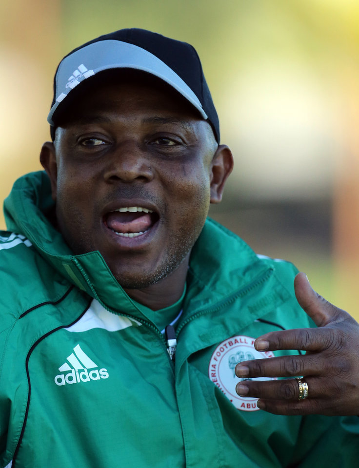 Nigeria's head coach Stephen Keshi reacts during their training session in Nelspruit, South Africa, Thursday Jan. 24, 2013, ahead of their African Cup of Nations Group C soccer match against Zambia on Friday. (AP Photo/Themba Hadebe)