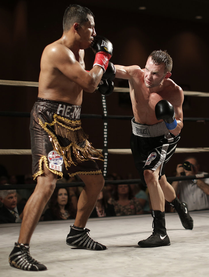 Oklahoma City's Noah Zuhdi fights German Jurado, of Panama, for the title of WBU World Lightweight Champion at the Cox Convention Center in Oklahoma City, Thursday, Sept. 20, 2012.  Photo by Garett Fisbeck, The Oklahoman