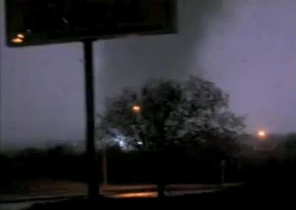 The tornado that touched down in Woodward is seen in this image from NewsOK.com video.