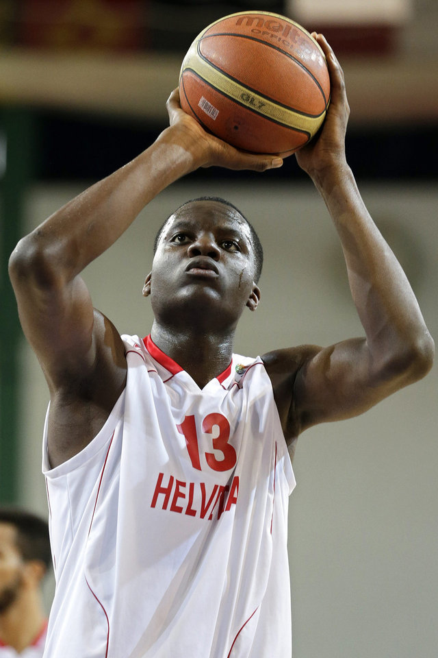 <strong>Clint Capela, Switzerland power forward</strong> Capela has been compared to Serge Ibaka, which is high praise for the 19-year-old Swiss forward. But it's still way too early in his development to project that out. At 6-11 with a 7-4 wingspan, he's very fluid and mobile for his size. He gets off the ground quickly, runs the floor well and skies for some impressive blocks and dunks, making his YouTube reel one of the best in the draft. But he was a role player in Europe last season, getting around 20 minutes a night, and it sounds like he's still pretty raw. A draft-and-stash possibility, and we know how the Thunder loves those. (AP Photo/Keystone, Salvatore Di Nolfi)