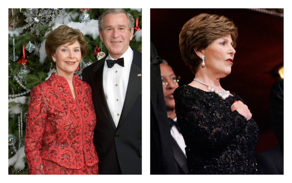Photo - This two-picture combo of a handout photo released by the White House, taken Dec. 3, 2006 at the White House in Washington, left, and a Dec. 3, 2006 file photo taken at the Kennedy Center in Washington, shows first lady Barbara Bush. Living in the White House definitely has its perks, but a clothing allowance is not one of them. First ladies feel all sorts of pressure to project a fashionable look, and over the decades they've tried a range of cash-saving strategies to pull it off without going broke. Mrs. Bush wrote in her memoir that she quickly changed clothes that night after three women arrived for a White House reception wearing the same red gown as hers. (AP Photo/White House, File)