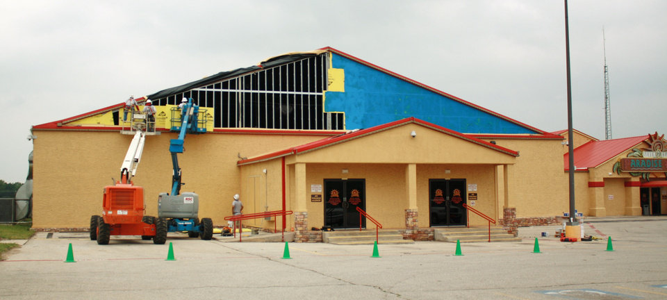 Photo - TORNADO / STORM / DAMAGE / AFTERMATH / RECOVERY / BUILDING EXTERIOR: 7 Clans Paradise Casino in Red Rock, front of building from today from the repairs being made. Photo courtesy of Otoe-Missouria Tribe of Oklahoma. ORG XMIT: KOD