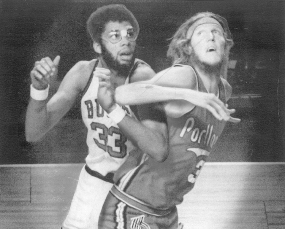 A young Bill Walton, right, was part of the Blazers team that won the 1977 title.  AP photo