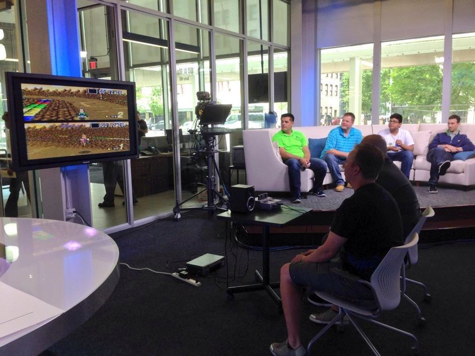 Photo -  The scene at The Oklahoman's Big Screen Mario Kart tournament on May 15, 2015.