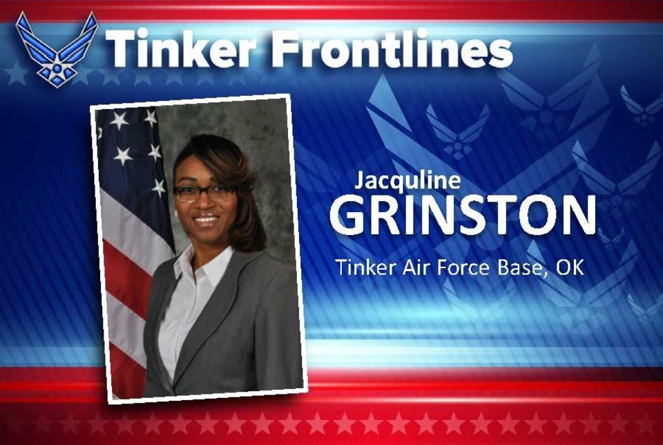 "Photo - Jacquline ""Jae"" Grinston is a training specialist in the 72nd Force Support Squadron. Grinston has 22 years of combined service, military and civilian. A highlight of her military career happened in 2000 when she was stationed at Dyess Air Force Base, Texas. She was a member of the Honor Guard team assigned to provide military honors at the funeral for Tom Landry, legendary coach of the Dallas Cowboys. In her free time, the Forest, Mississippi, native enjoys traveling, shopping and spending time with her family. As a training specialist, Grinston's job is to organically develop curriculum and deliver instruction that promotes, supports and enhances every employee of Team Tinker. ""What I love most about my job are the relationships I build that extend beyond the classroom,"" she says. Because her job has always required face-to-face interaction, COVID-19 caused a lot of uncertainty which made for a very difficult adjustment at first. ""I've been blessed to work with a group of amazing people,"" Grinston said. ""We worked as a team, along with our partners, to ensure we continue the mission of onboarding Team Tinker's greatest asset."" Since the implementation of HPCON C, the Force Development team has conducted four New Employee Orientation courses, onboarding a total of 217 new employees. Of those, 148 employees were on-boarded 100% virtually. [PHOTO PROVIDED]"
