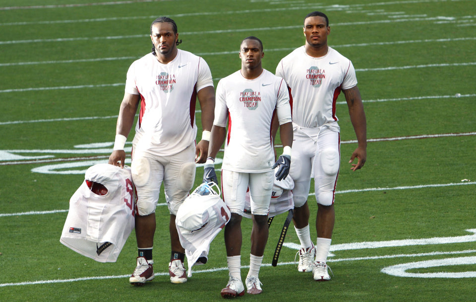 Photo - University of Oklahoma (OU) college football players Jamarkus McFarland, Demontre Hurst, and Ronnell Lewis for OU spring game preview.  Photographed at Gaylord Family -- Oklahoma Memorial Stadium on Thursday, April 15, 2010, in Norman, Okla.  Photo by Steve Sisney, The Oklahoman ORG XMIT: KOD