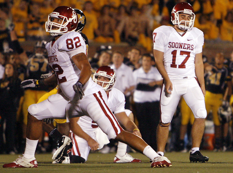 Oklahoma's Jimmy Stevens (17) reacts after a missed field goal during the second half of the college football game between the University of Oklahoma Sooners (OU) and the University of Missouri Tigers (MU) on Saturday, Oct. 23, 2010, in Columbia, Mo. Oklahoma lost the game 36-27. Photo by Chris Landsberger, The Oklahoman