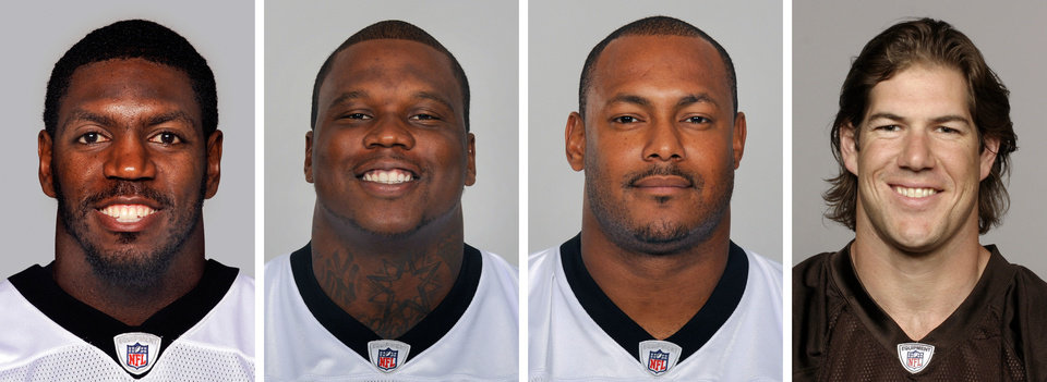 Photo -   FILE - From left are NFL football players Jonathan Vilma, in 2011; Anthony Hargrove, in 2010; Will Smith, in 2011; and Scott Fujita, in 2011. New Orleans Saints linebacker Jonathan Vilma was suspended without pay for the entire 2012 season by the NFL, one of four players punished Wednesday, May 2, 2012, for participating in the team's cash-for-hits bounty system. Defensive lineman Anthony Hargrove, now with the Green Bay Packers, was suspended for the first half of this season; Saints defensive end Will Smith was barred for the opening four games; and linebacker Scott Fujita, now with the Cleveland Browns, will miss the first three games. All of the suspensions are without pay. (AP Photo/File)