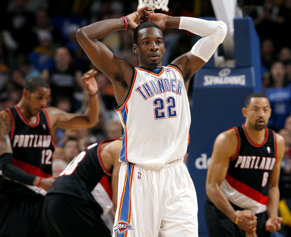 Photo - Oklahoma City's Jeff Green reacts to a foul called on him in the final minutes of the Thunder's loss to Portland during the second half of their NBA basketball game at the Ford Center in Oklahoma City, Okla., on Sunday, March 28, 2010. The Thunder lost to the Trail Blazers. Photo by John Clanton, The Oklahoman