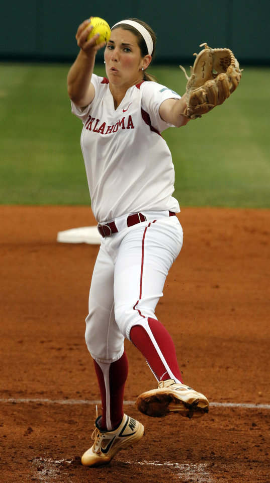 Photo - Oklahoma's Kelsey Stevens pitches as the University of Oklahoma Sooner (OU) softball team plays Tennessee in the first game of the NCAA super regional at Marita Hynes Field on May 23, 2014 in Norman, Okla. Photo by Steve Sisney, The Oklahoman