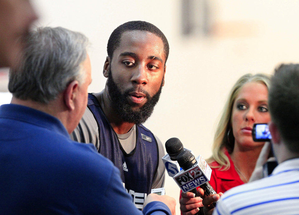 NBA BASKETBALL: Oklahoma City Thunder player James Harden answers question from reporters at the Thunder practice facility Monday, April 26, 2010,  before the team traveled to California to play in Game 5 of the first round of the NBA playoffs against the Los Angeles Lakers.  Photo by Jim Beckel, The Oklahoman ORG XMIT: KOD