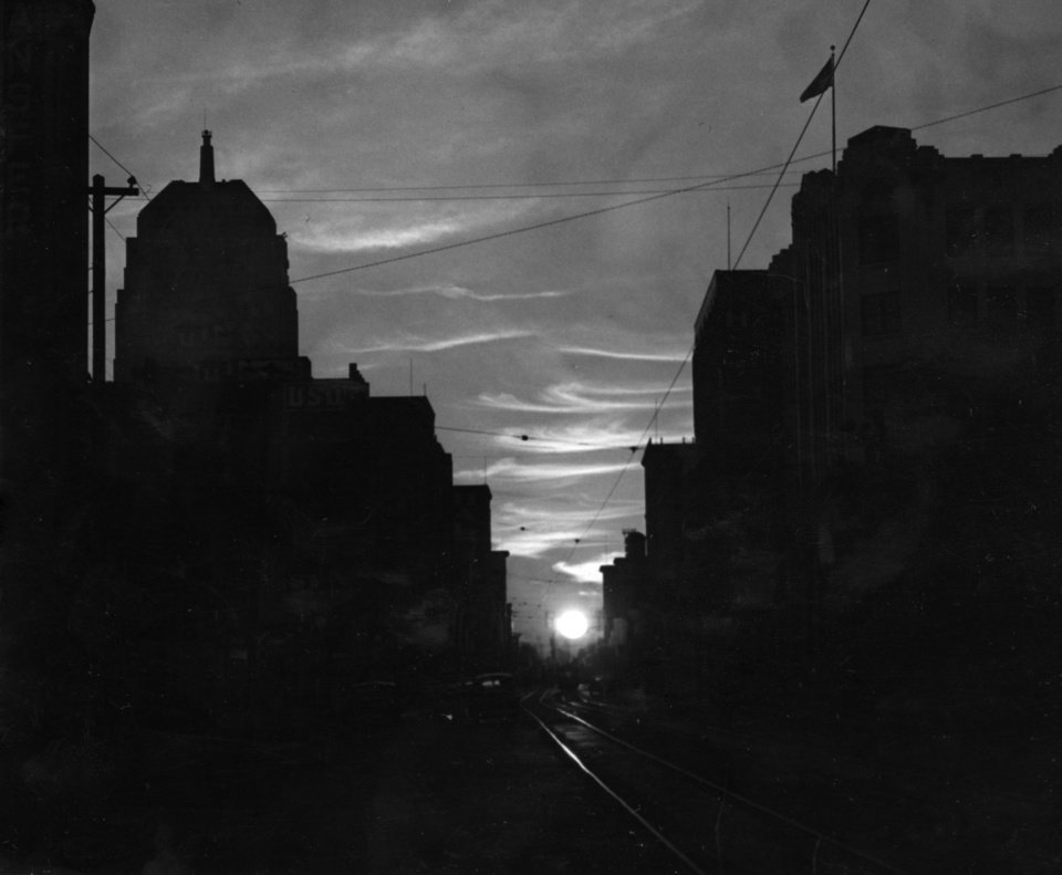OKLAHOMA CITY / SKY LINE / OKLAHOMA / NIGHT SCENES:  No caption.  Staff photo by C.J. Kaho.  Photo dated 09/26/1946 and unpublished.  Photo arrived in library 10/07/1946.