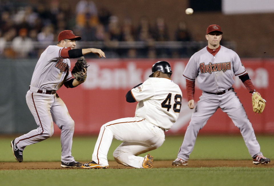 Photo -   Arizona Diamondbacks shortstop John McDonald, left, turns a double play over San Francisco Giants' Pablo Sandoval on a ground ball from Buster Posey during the seventh inning of a baseball game on, Tuesday, Sept. 4, 2012 in San Francisco. (AP Photo/Marcio Jose Sanchez)