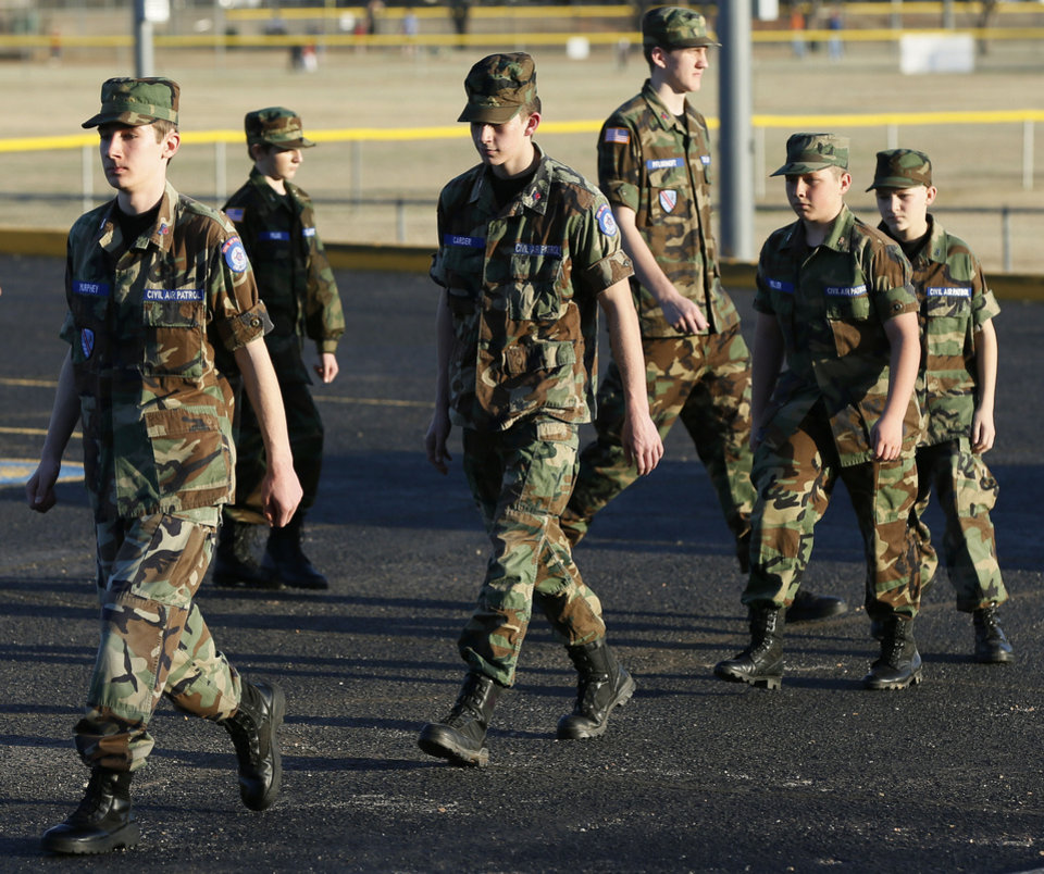 Cadets march at the end of formation during a meeting of the Edmond Composite Squadron of the Civil Air Patrol. Photo by Nate Billings, The Oklahoman <strong>NATE BILLINGS - NATE BILLINGS</strong>