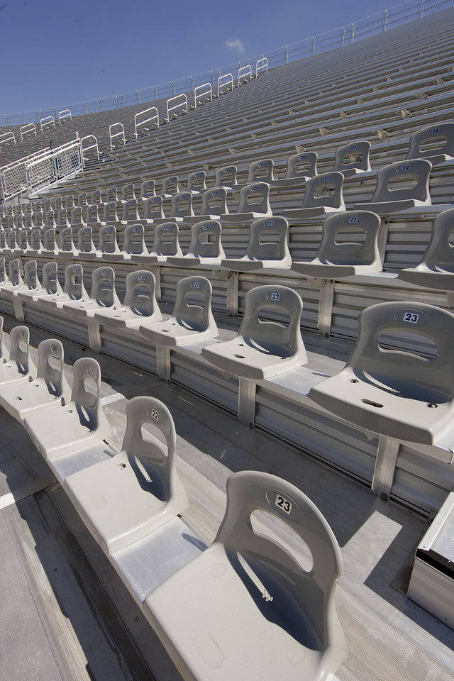 Renovations to the expanded seating in the north and south end zones to the Cotton Bowl on display to the media on Wednesday, Sept 17,  2008, in Dallas, Texas.