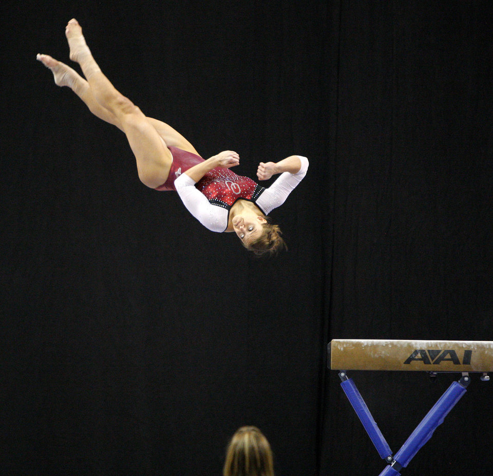 Oklahoma's Sara Stone competes on the beam during the Perfect 10 Challenge hosted by the Bart and Nadia Sports and Health Festival at the Cox Convention Center in Oklahoma City, Friday, Feb. 10, 2012. Photo by Bryan Terry, The Oklahoman