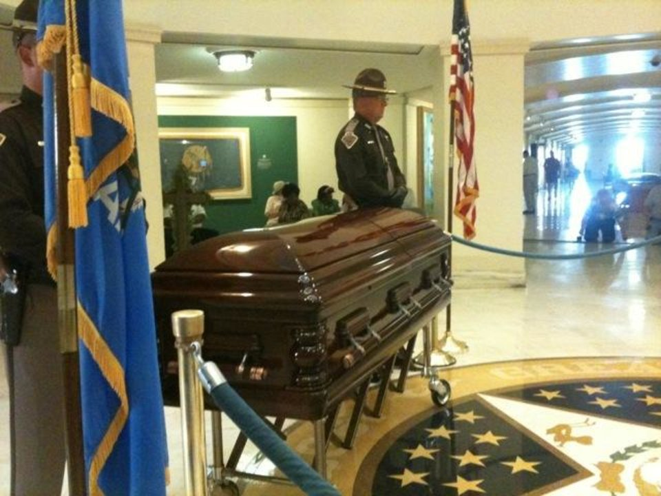 Photo - Clara Luper lies in repose at the state Capitol today. Photo by Jim Beckel