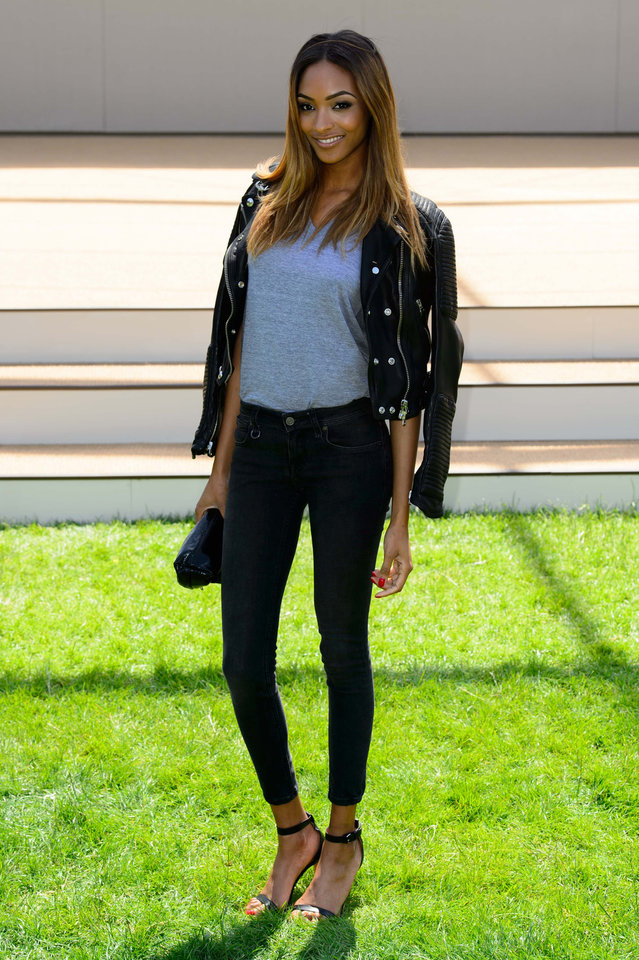 Photo - British model Jourdan Dunn arrives for the Burberry Prorsum Menswear collection, during London Collections for Men Spring/Summer 2015 in central London, Tuesday, June 17, 2014. (Photo by Jonathan Short/Invision/AP)