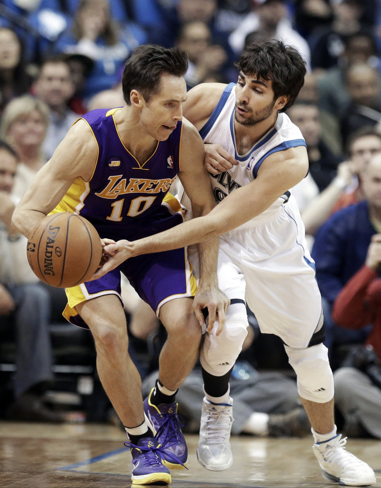Minnesota Timberwolves' Ricky Rubio of Spain, right, pressures Los Angeles Lakers' Steve Nash in the first quarter of an NBA basketball game Wednesday, March 27, 2013 in Minneapolis. Rubio was called for a foul on the play. (AP Photo/Jim Mone)