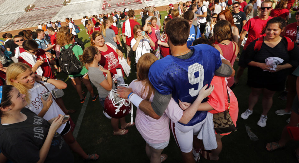 Photo - Quarterback Trevor Knight poses for photographs during the University of Oklahoma Sooners (OU) practice and Student Day at Gaylord Family-Oklahoma Memorial Stadium in Norman, Okla., on Thursday, Aug. 21, 2014. Photo by Steve Sisney, The Oklahoman