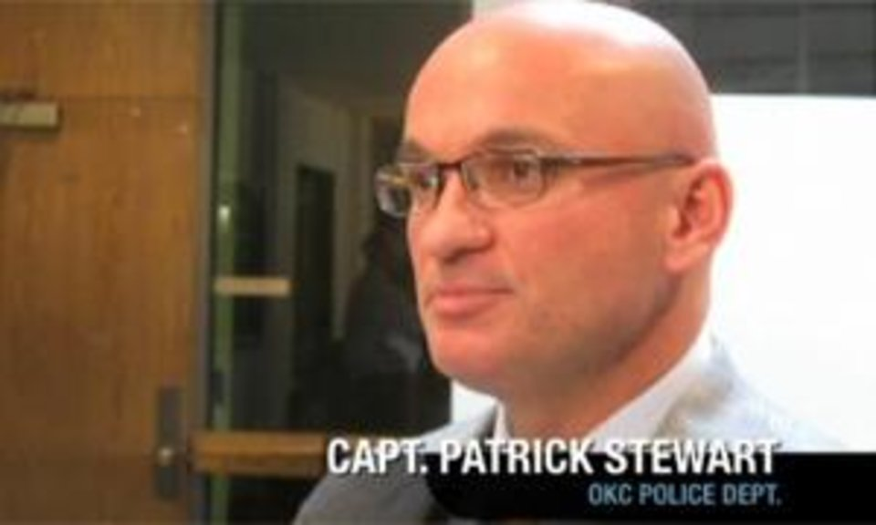 Photo - Oklahoma City police spokesman Patrick Stewart talks about the arrest in this frame grab from NewsOK.com video.