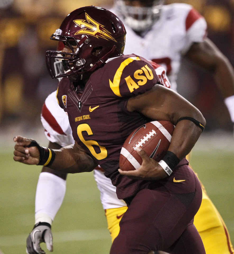Arizona State running back Cameron Marshall (6) runs for a touchdown against USC during the first half of an NCAA football game on Saturday, Sept. 24, 2011, in Tempe, Ariz. (AP Photo/Matt York) ORG XMIT: PNS103