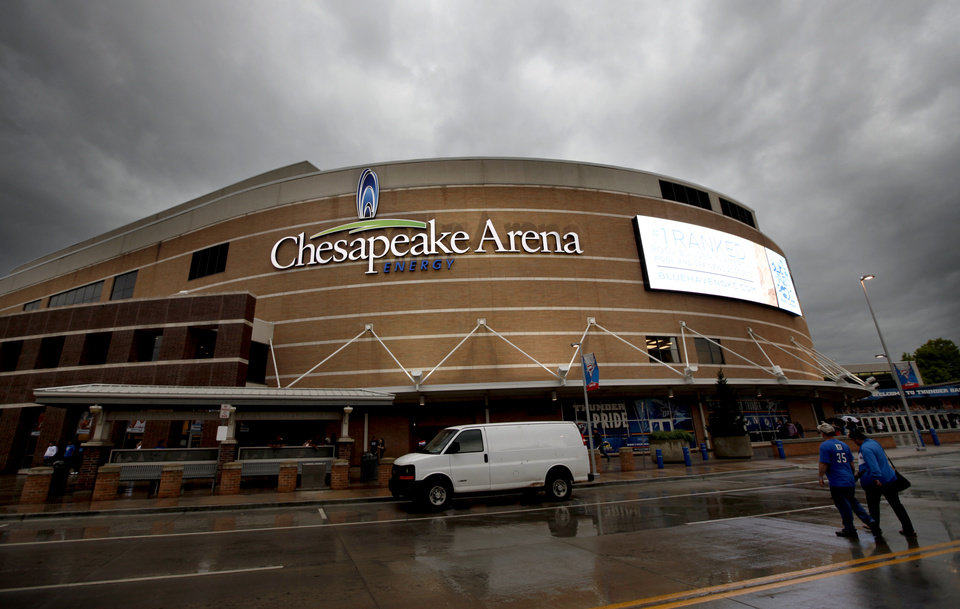 BUILDING EXTERIOR: The Chesapeake Energy Arena is pictured before the NBA basketball game between the Oklahoma City Thunder and the Sacramento Kings at Chesapeake Energy Arena in Oklahoma City, Friday, April 13, 2012. Photo by Sarah Phipps, The Oklahoman.