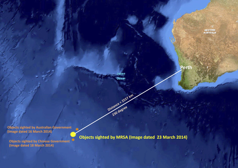 Photo - This graphic released by the Malaysian Remote Sensing Agency on Wednesday, March 26, 2014, shows the approximate position of objects seen floating in the southern Indian Ocean in the search zone for the missing Malaysia Airlines flight MH370. Malaysian Defense Minister Hishammuddin Hussein said at a news conference in Kuala Lumpur, Wednesday that a satellite has captured images of 122 objects close to where three other satellites previously detected objects. (AP Photo/Malaysian Remote Sensing Agency)