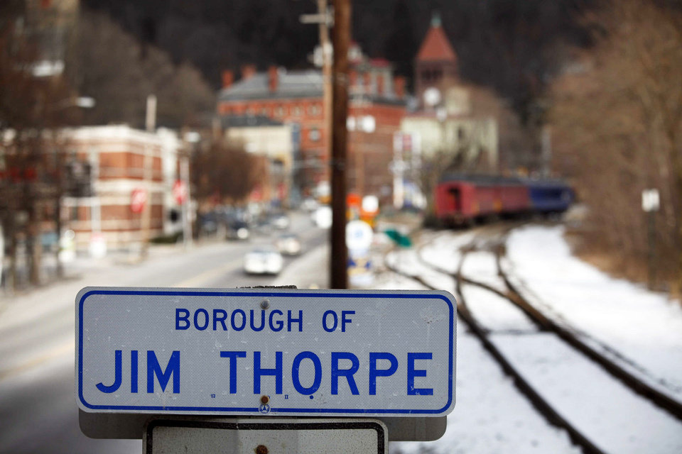 This 2010 photo shows a sign in the town of Jim Thorpe, Pa. AP archive PHOTO