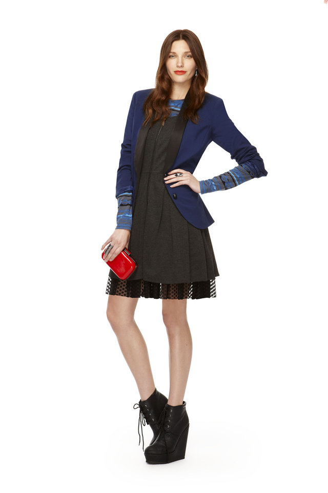 Blazer in navy/black (Target.com exclusive), zip-front dress in gray/black, long-sleeve tee in black/blue/gray print, hard case clutch in red patent, all from Kirna Zabete for Target collection. Photo provided. <strong></strong>