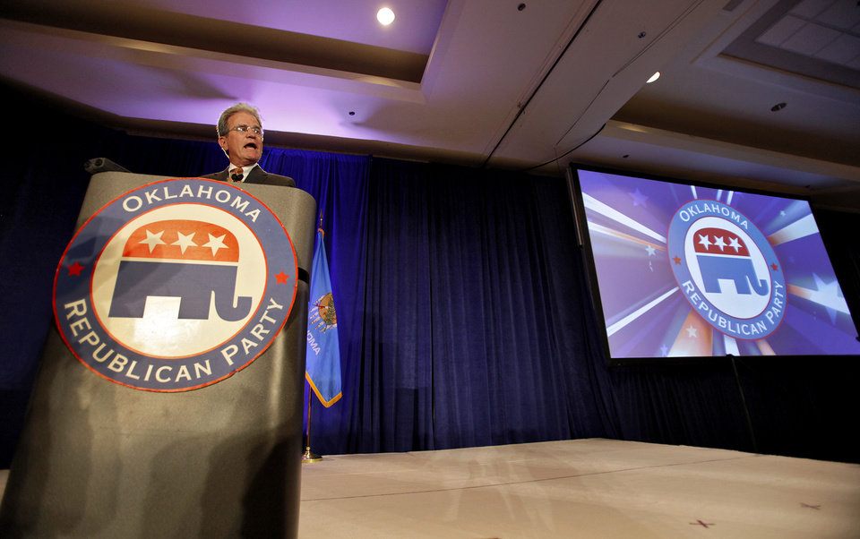 Photo - U.S. Senator Tom Coburn talks to supporters as he takes the stage after winning his race for a second term at the republican Watch Party at the Marriott on Tuesday, Nov. 2, 2010, in Oklahoma City, Okla.   Photo by Chris Landsberger, The Oklahoman