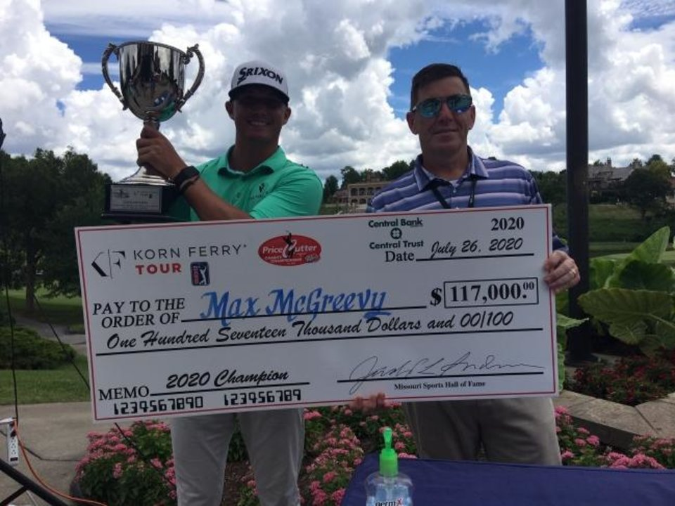 Photo -  Former Edmond Santa Fe and University of Oklahoma golfer Max McGreevy, left, celebrates after winning the Price Cutter Charity Championship in Springfield, Mo., on Sunday for his first victory on the Korn Ferry Tour. [PHOTO PROVIDED]