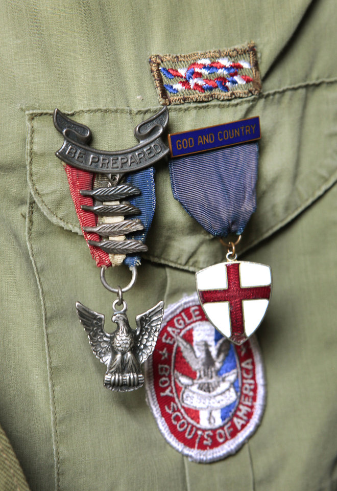 Dr. Hal Yocum�s original uniform bears his Eagle badge.   Photo By David McDaniel,  The Oklahoman