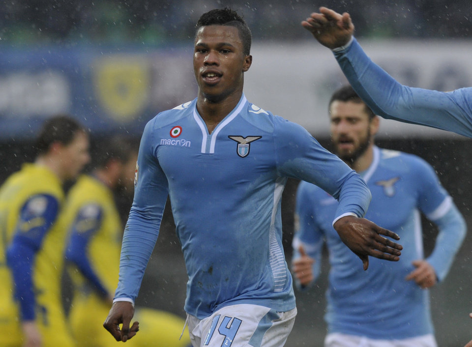 Photo - Lazio's Balde Diao Keita of Senegal celebrates after scoring a goal during their Serie A soccer match against Chievo, at Verona's Bentegodi stadium, Italy, Sunday, Feb. 2, 2014. (AP Photo/Marco Vasini)