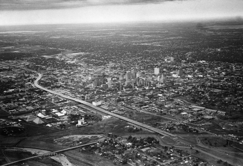 OKLAHOMA CITY / SKY LINE / OKLAHOMA / AERIAL VIEWS / AERIAL PHOTOGRAPHY / AIR VIEWS:  1965 Oklahoma City skyline.  Staff photo by Jim Lucas.  Photo dated 10/15/1965 and unpublished.  Photo arrived in library on 01/15/1973.