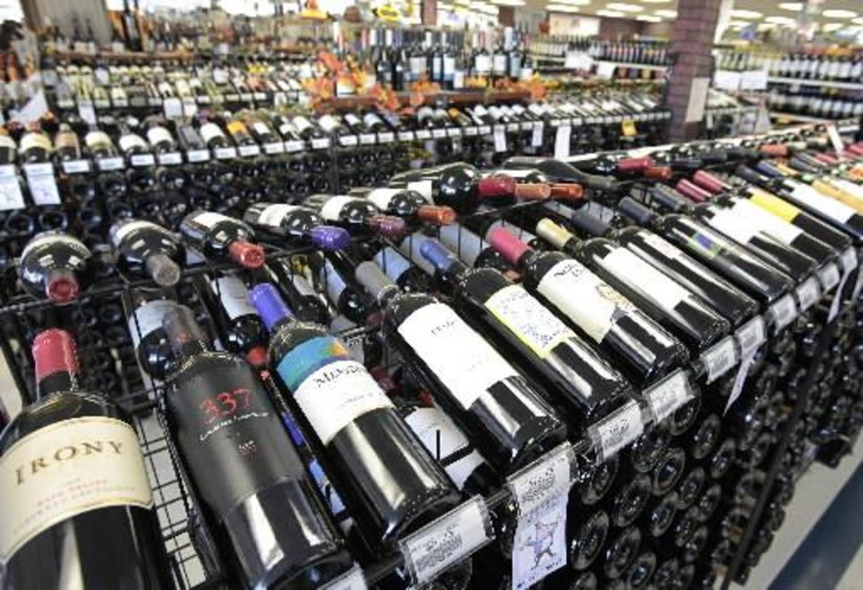 Wine department in Byron's Liquor Stores, Wednesday, November 23, 2011. Photo by David McDaniel, The Oklahoman