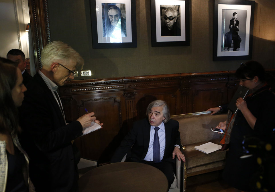 Photo -  U.S. Secretary for Energy Ernest Moniz talks to reporters Tuesday at the end of the G7 meeting for Energy in Rome. AP Photo   Riccardo De Luca -