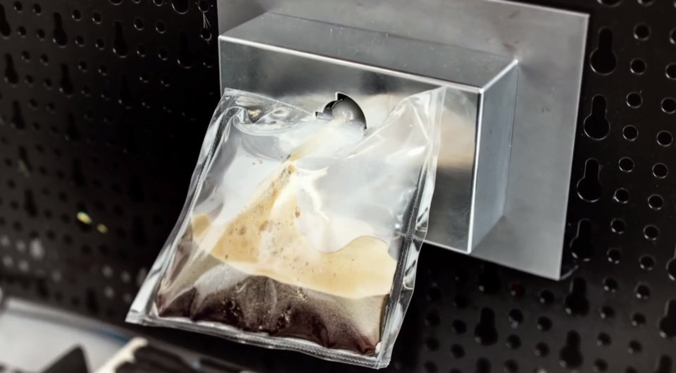 Photo - This undated product photo made from a video provided by Lavazza shows a prototype of Lavazza's and Argotec's