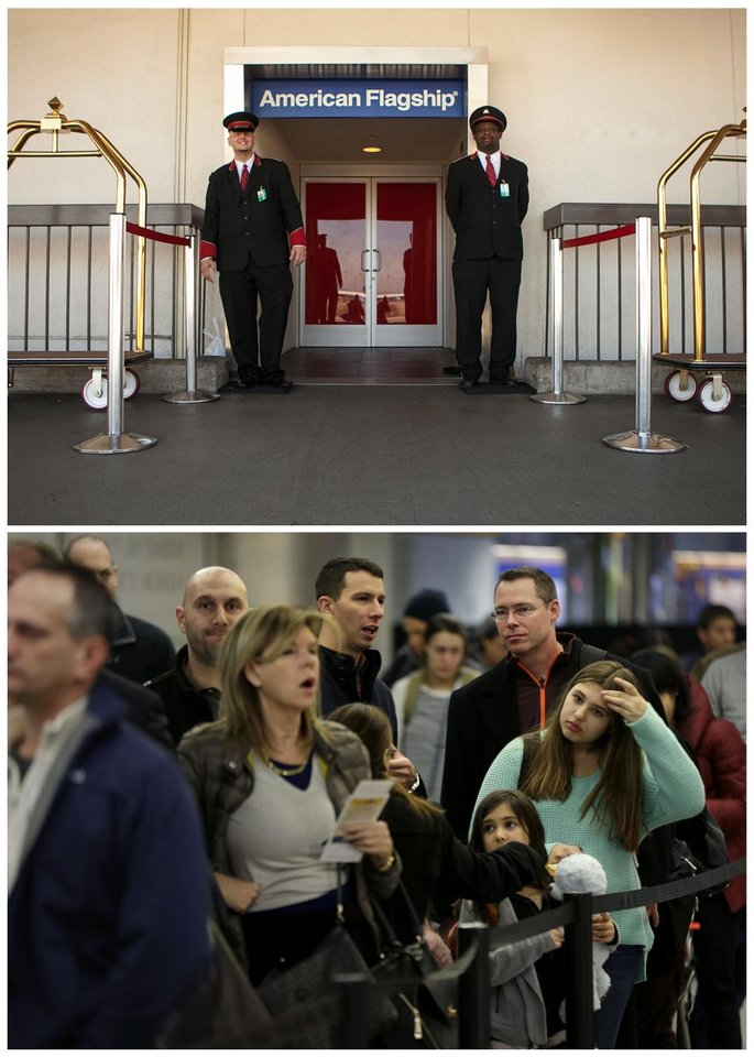 Photo - This combination of Associated Press file photos, shows, at top, American Airlines skycaps Alex Abel Gonzalez, left, and Frederick Pearson waiting outside the AA Flagship lounge at Los Angeles International Airport, in Los Angeles in 2013, and bottom, travelers waiting in line to board a flight at LaGuardia Airport in New York, in 2013. American's Flagship Check-in service, a VIP discreet and expedited check-in process offers personal access to agents for assistance with check-in and bag check, and a separate security line when flying through several large airports. (AP Photo/File)