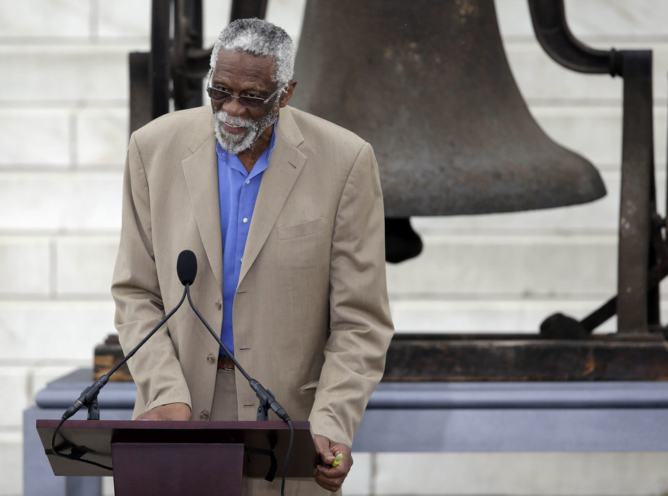 "Former Boston Celtics basketball player Bill Russell speaks at the Let Freedom Ring ceremony at the Lincoln Memorial in Washington,Wednesday, Aug. 28, 2013, to commemorate the 50th anniversary of the 1963 March on Washington for Jobs and Freedom. It was 50 years ago today when Martin Luther King Jr. delivered his ""I Have a Dream"" speech from the steps of the memorial. (AP Photo/Carolyn Kaster)"