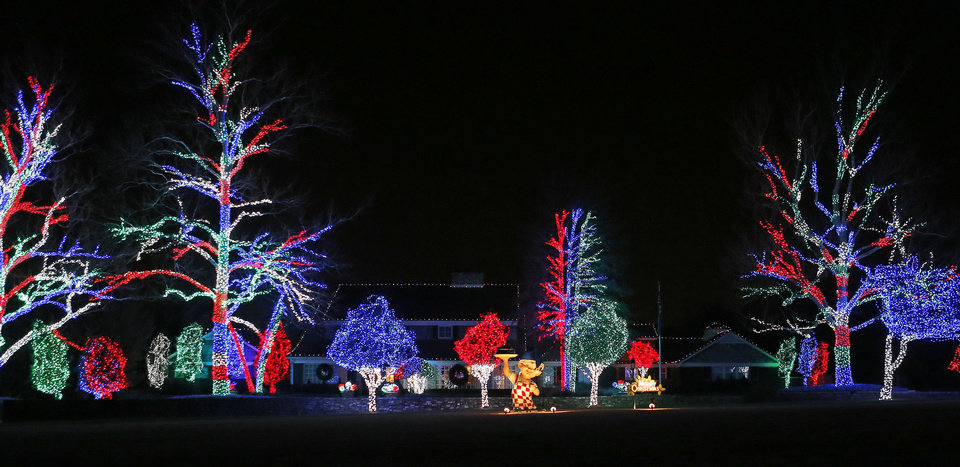 This home on Dorchester Drive in Nichols Hills is decked out for holidays.  Photo by Bryan Terry, The Oklahoman