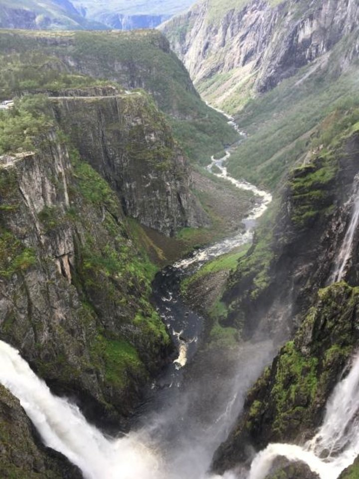 Photo -  The Voringsfossen waterfall near Eidfjord is the best-known waterfall in Norway. It cascades almost 600 feet from the Hardangervidda plateau into the Mabodalen valley. [Elaine Warner Photo]