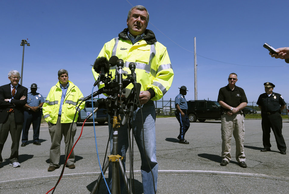 Photo - Director of aviation for the Massachusetts Port Authority Ed Freni speaks during a news conference at Hanscom Field in Bedford, Mass., Sunday, June 1, 2014.  A Gulfstream IV crashed as it was leaving Hanscom Field at about 9:40 p.m. Saturday for Atlantic City, N.J. There were no survivors. Philadelphia Inquirer co-owner Lewis Katz was killed along with six other people in the crash. (AP Photo/Michael Dwyer)