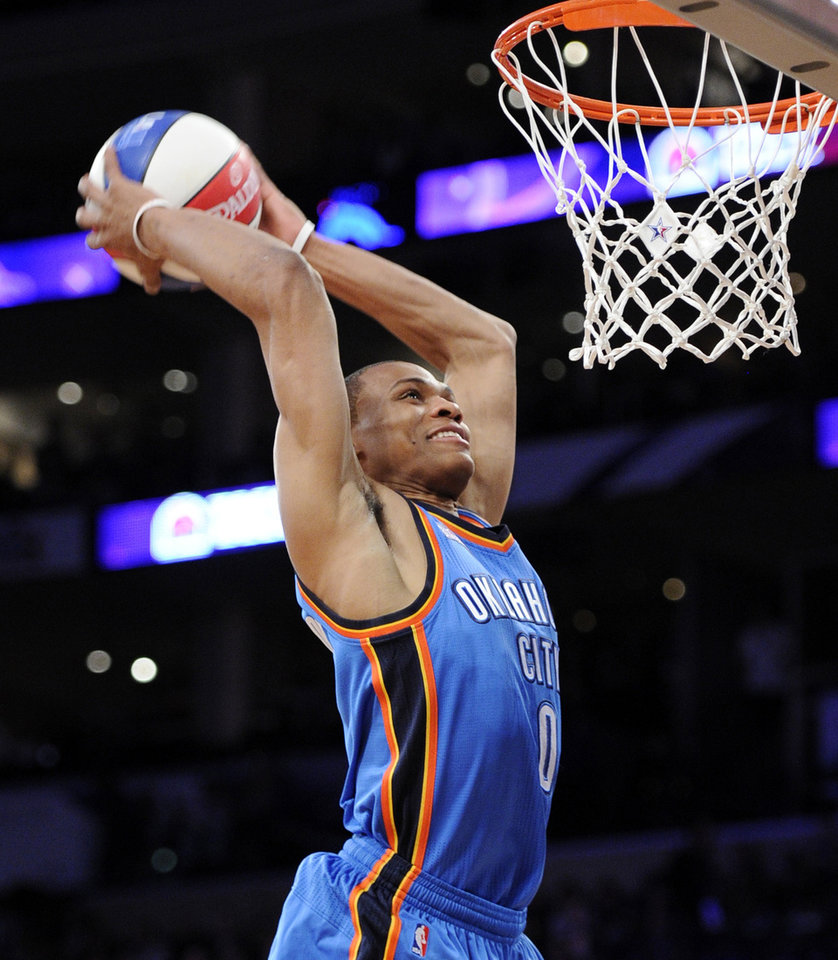 Photo - Oklahoma City Thunder's Russell Westbrook competes during the Skills Challenge at the NBA basketball All-Star Saturday Night, Saturday, Feb. 19, 2011, in Los Angeles.  (AP Photo/Mark J. Terrill)