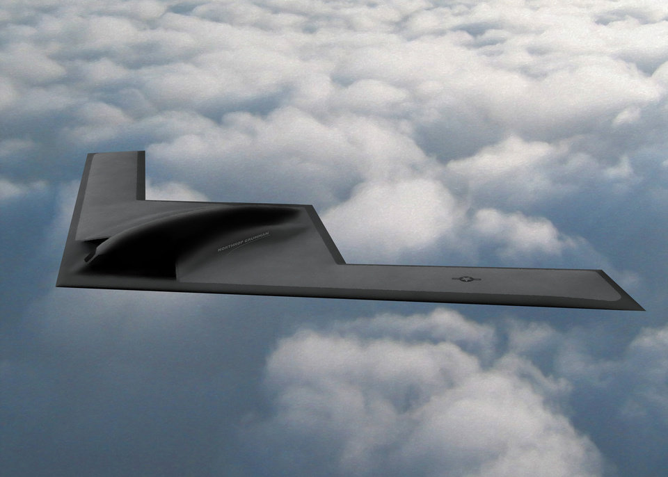 Photo -  The B-21 bomber, currently under development, will be maintained at Tinker Air Force Base. [DRAWING PROVIDED]